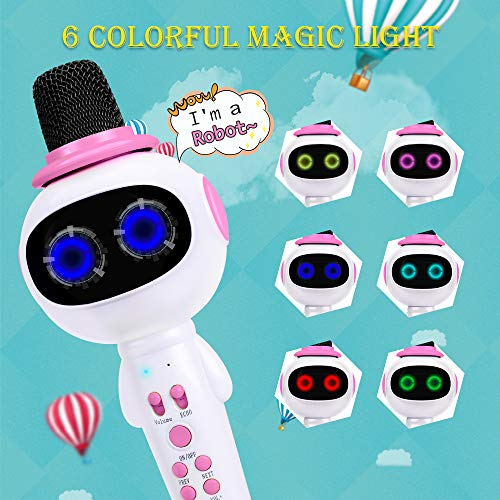BONAOK Kids Wireless Bluetooth Karaoke Microphone with Magic Sound & Colorful LED light, 5 in 1 Portable Handheld Party Karaoke Speaker Machine Birthday Gift for Android/iPhone/iPad/PC (pink) by BONAOK (Image #2)