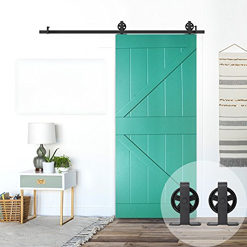 - WINSOON T Shaped Style Big Spoke Wheel Sliding Barn Door Hardware Kit for Single Door (10FT Single Door Track Kit)