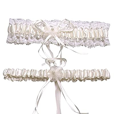 CLOCOLOR Women's Set of 2 Piece Satin Lace Bridal Wedding Garters with Bowknot