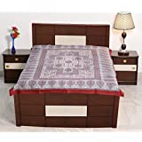 Sarjana Handicrafts Twin Size Cotton Fitted Bed Sheet Block Printed Bedspread Bedding (Maroon)