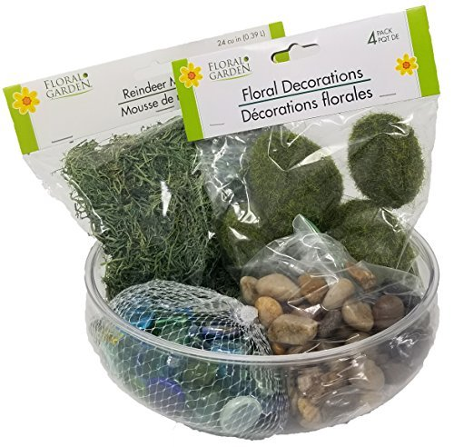 Fairy Garden Starter Kit for Adults & Kids, Fairy Garden Accessories to Create your Own Fairy Garden, Includes Reindeer Moss, Multi Colored Rocks, Stones Rocks Floral Moss Bundled with Plastic Bowl