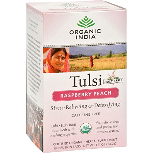 Peach Raspberry Tea Tulsi (Organic India Tulsi Tea Raspberry Peach - 18 Tea Bags - Case of 6)