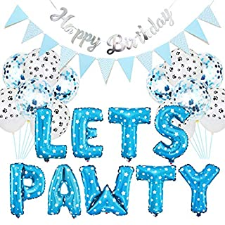 great-fyl 23pcs/set Pet Party Decoration Kit Dog Cat LETS PAWTY Balloons Birthday Banners Party Supplies