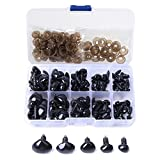 Artec360 Black Safety Noses 100 Pack Plastic Ellipse with 100 Washers for Craft Doll Felting Kit Dolls Decys Sewing 5 Sizes (15/14/11/10/9MM)