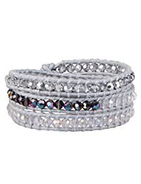 KELITCH Synthetic-Pearl Crystal 3 Wrap Leather Bracelets for Party Prom Wedding Bridal