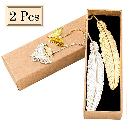(Whaline Metal Feather Bookmarks with Butterfly Pendant and Gift Box Packed for Adults and Kids (Gold and)