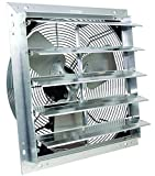 VES Exhaust Fan, Shutter Fan, Box Fan, with 9 Foot Cord 3 Speed for Indoor or Outdoor Ventilation (16 Inches)