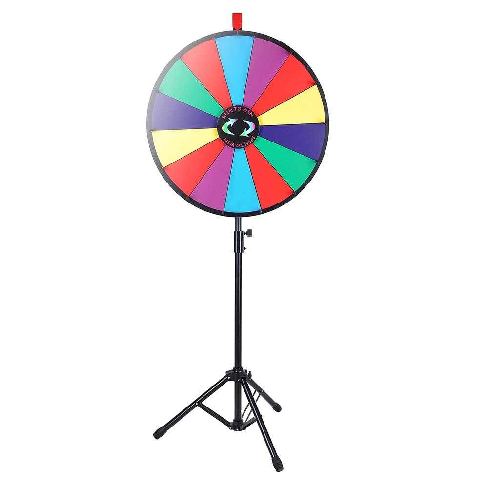 WinSpin 24'' Color Prize Wheel Fortune w Folding Tripod Floor Stand Carnival Spinnig Game