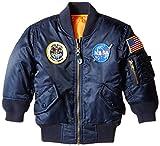 Alpha Industries Little Boys' Toddler Nasa MA-1 Bomber Jacket, Replica Blue, 4T