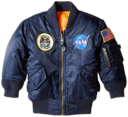 Price comparison product image Alpha Industries Little Boys' Toddler Nasa MA-1 Bomber Jacket, Replica Blue, 4T