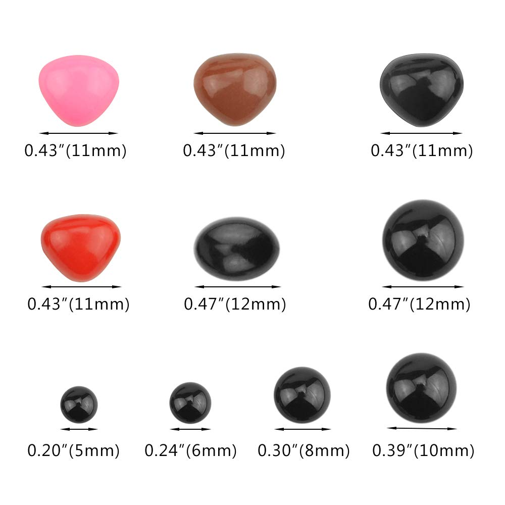 TOVOT 330Pcs Plastic Safety Noses and Safety Eyes Assorted Sizes Flat Triangle Nose,Plastic Oval Flat Bottom Doll Craft Nose for Doll Puppet Plush Animal Making and Teddy Bear Black,Pink,Brown,Red