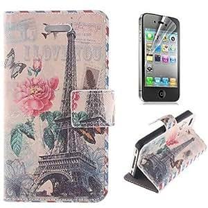 GONGXI- la torre Eiffel y la cubierta del cuerpo completo del patrón de mariposa de la PU de cuero con el soporte y la película protectora para el iphone 4 /
