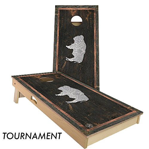 Rustic State Flag 4 by 2 feet Regulation Size Cornhole Boards Sets; 100% USA MADE | Slick Woody's Cornhole Company (Vintage Wyoming)