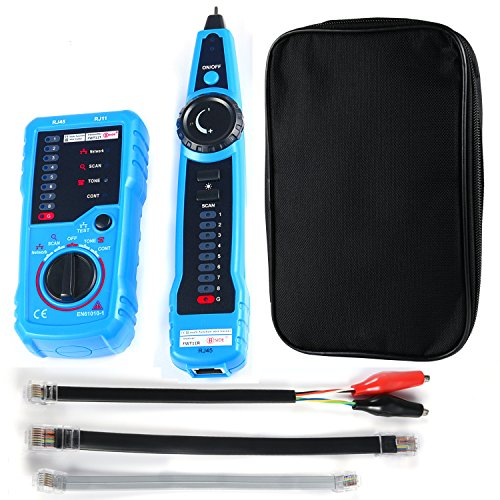 Wire Tracker RJ11 RJ45 Line Finder Multifunction Cable Tester for Ethernet Network Telephone Line Test Continuity Checking, with Clip Adapter Cable, RJ11 Adapter Cable, RJ45 Adapter Cable, Toolkit
