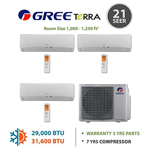 Gree MULTI30BTERRA300 - 30,000 BTU Multi21 Tri-Zone Wall Mounted Mini Split Air Conditioner with Heat Pump 220V (9-9-9)