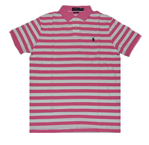 Multi Striped Polo Shirt - Polo Ralph Lauren Men's Striped Polo Shirt Custom Fit (L, Baja Pink/White)