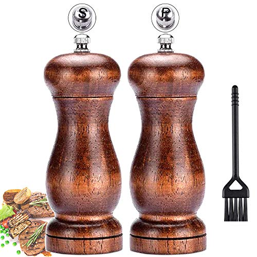 - Salt and Pepper Grinder Set,Elegant Pepper Mill and Salt Mill Wood with Ceramic Grinding Core,Manual Adjustable Coarse and Fine,Suitable for Picnic, Dinner, Parties, Restaurant, BBQ and Hotel.(2 Pack)