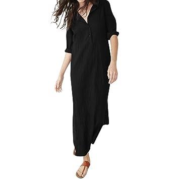 Saihui_Women Dress Vestido de Manga Larga para Mujer, Estilo Casual, Cuello en V,
