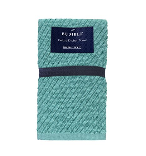 """Bumble Deluxe Barmop Kitchen Towel 6-Pack / 16"""" x 19"""" / Premium Ultra Absorbent Cotton Hand Towels/Quick Drying Tea Towels/Diagonal Weave Thick 2-Ply/Long Lasting - Aqua by Bumble Towels"""