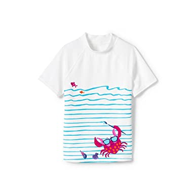 Amazon Com Lands End Toddler Girls Short Sleeve Rash Guard Clothing