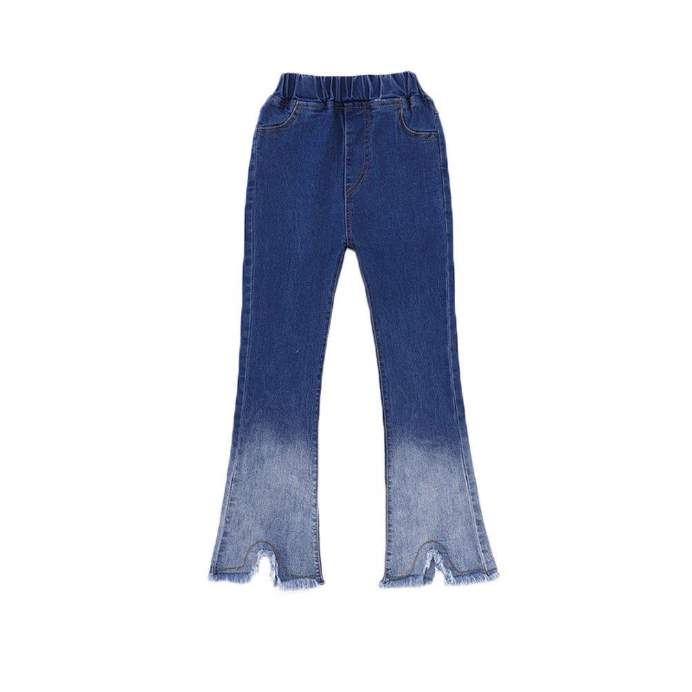 Zukzi Girls Summer Fashion Fringe Bottom Two Toned Bootcut Jeans, 3-4 Years
