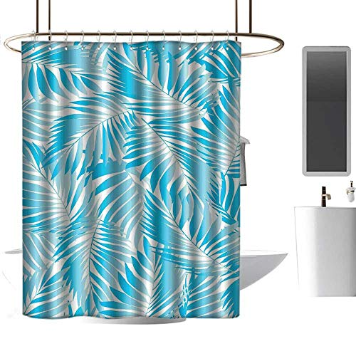 Mannwarehouse Leaves Bathtub Splash Guard Miami Style Tropical Aquatic Palm Leaves with Exotic Colors Summer Beach goof Proof Shower W36 xL84