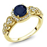1.32 Ct Round Blue Sapphire 18K Yellow Gold Plated Silver Ring