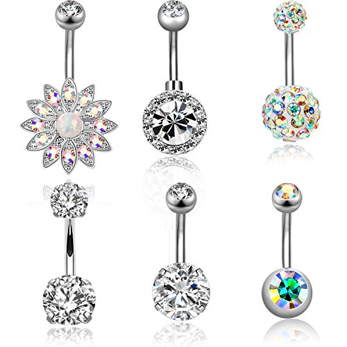 - CABBE 6Pcs Belly Button Rings Set for Women 14G Stainless Steel Navel Rings Barbells Body Piercing (A:6Pcs Silvertone)