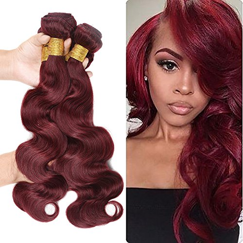 Strong Sexy Strengthening Shampoo - XCCOCO Hair Brazilian 8A Grade Virgin Human Hair Body Wave Hair 3 Bundles 99J Purplish Red Hair Wefts Sexy Body Wave Burgundy Hair Weave Extensions (99J,10