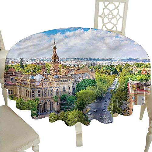 ScottDecor Dinning Tabletop Decoration Wanderlust,Seville Spain Cityscape Printed Tablecloth Round Tablecloth D 54