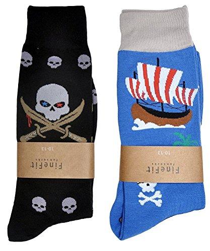 (Fine Fit Mens Novelty Print Trouser Socks 2 Pair Set (Skulls & Ships))