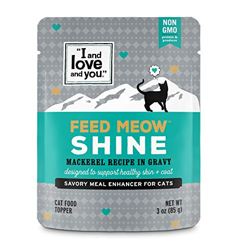 - I and Love and You Feed Meow Shine Wet Cat Food Pouch, Mackerel Recipe in Gravy, 3 oz (Pack of 12)