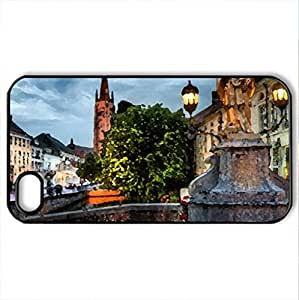 Peaceful Evening - Case Cover for iPhone 4 and 4s (Skyscrapers Series, Watercolor style, Black)