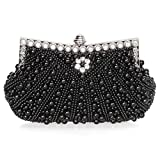 BMC Womens Noir Black Faux Pearl Cascading Bead Rhinestone Encrusted Evening Clutch Cocktail Party Fashion Purse