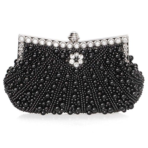 Noir Fashion Womens Black Bead Rhinestone Cascading Bmc Pearl Purse Faux Clutch Evening 8vdq4