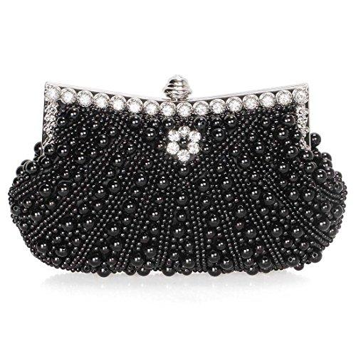 BMC Womens Noir Black Faux Pearl Cascading Bead Rhinestone Encrusted Evening Clutch Cocktail Party Fashion Purse -