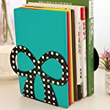 Gold Happy Novelty Bow Metal Book End, Home & Office Bookshelf Bookends as Book Organizer, Desktop Metal Book Stand for girls
