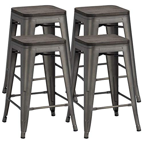 Yaheetech 24 inches Metal Bar Stools Counter Stool Indoor ...