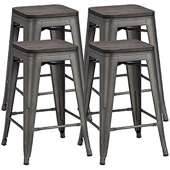 Amazon Com Yaheetech 26inch Barstools Set Of 4 Counter