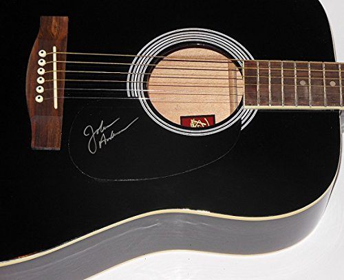 John Anderson Seminole Wind Authentic Signed Autographed Full Size Black Acoustic Guitar Loa