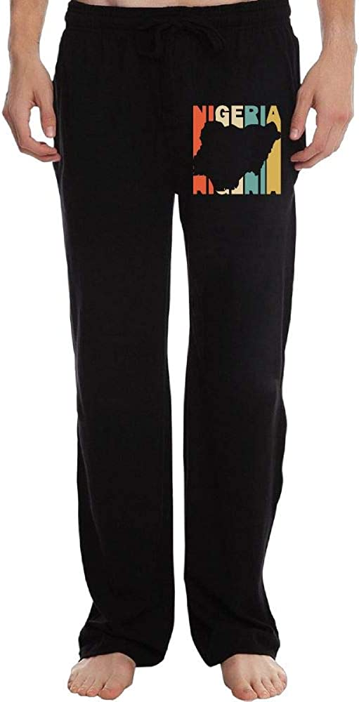 Stretch Retro Style Nigeria Silhouette 100/% Cotton Running Pants Long Sweatpants for Mens