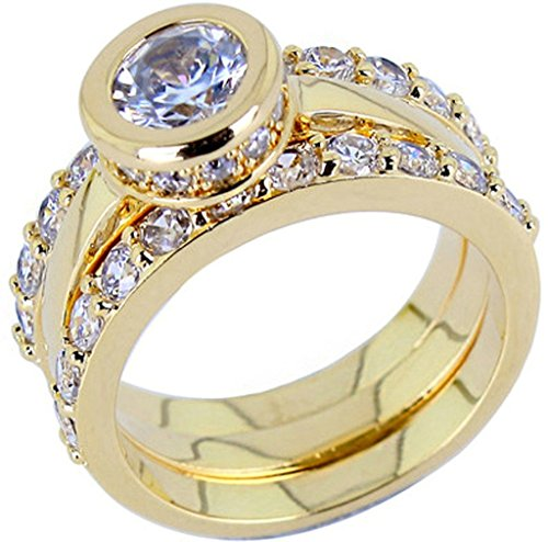 Alimab Jewelery Rings Gold Plated Womens Promise Rings Round Gold (Big Bad Wolf Makeup)