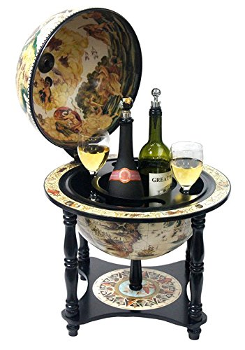 Turin Italian Style 13'' Diameter Tabletop Bar Globe with 4 Legs - White
