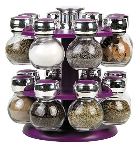 16 REVOLVING PLASTIC KITCHEN SPICE RACK STAND GLASS JARS PURPLE BLACK GREEN (Green) Denny International