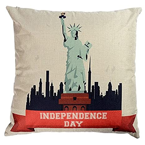 BTIHAFTMAG Decorative Throw Pillow Covers USA Independence Day Pillows Cover 18 x 18 Inch