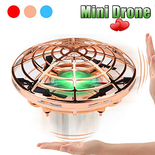 FUNCUBE UFO Flying Toy,Hand Controlled Mini Drones RC Quadcopter Interactive Infrared Induction Aircraft Helicopter with Flashing Lights Fit Indoor or Outdoor Playing Magic Birthday Gifts for Kids