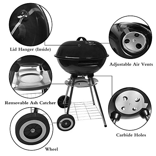 Charcoal-Grill-17in-with-Steel-Cooking-Grate-for-Home-Garden-Barbecue-Tool-Sets-Outdoor-Smokers-BBQ-grilling-charcoal-Round-Portable-Charcoal-Kettle-Grills-for-Backyard-Tailgate-Party-Camping