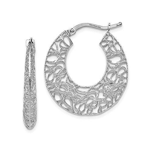 Filigree Earrings Gold White (4mm x 24.5mm (1 Inch) 14k White Gold Filigree Tapered Hoop Earrings)