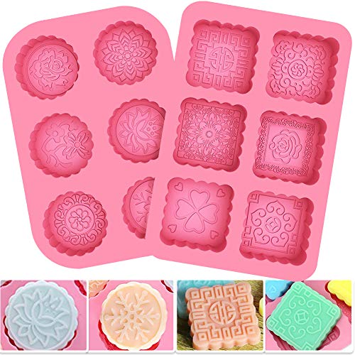 BESTZY 2 Pcs Round & Square 6-Cavity Silicone Soap Mold DIY Soap Mould Mooncake Chocolate Wafer Silicone Molds for Halloween]()