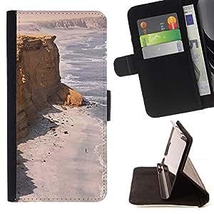 Momo Phone Case / Flip Funda de Cuero Case Cover - Costa Desert Ocean Sand Beach - HTC One M7